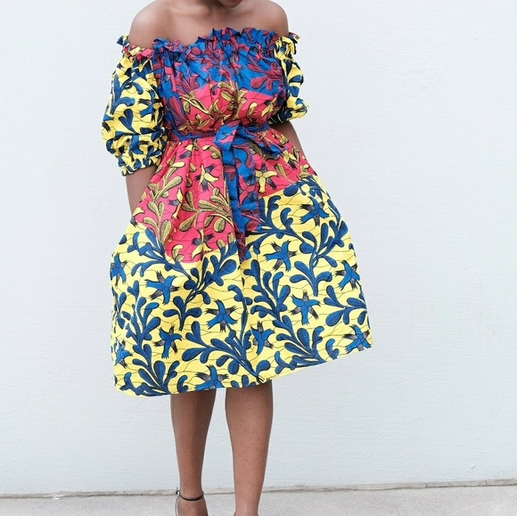 273bc4833bd Women African print off shoulder dress
